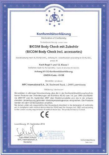 Certifikát BICOM BC