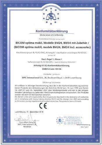 Certifikát BICOM Mobile